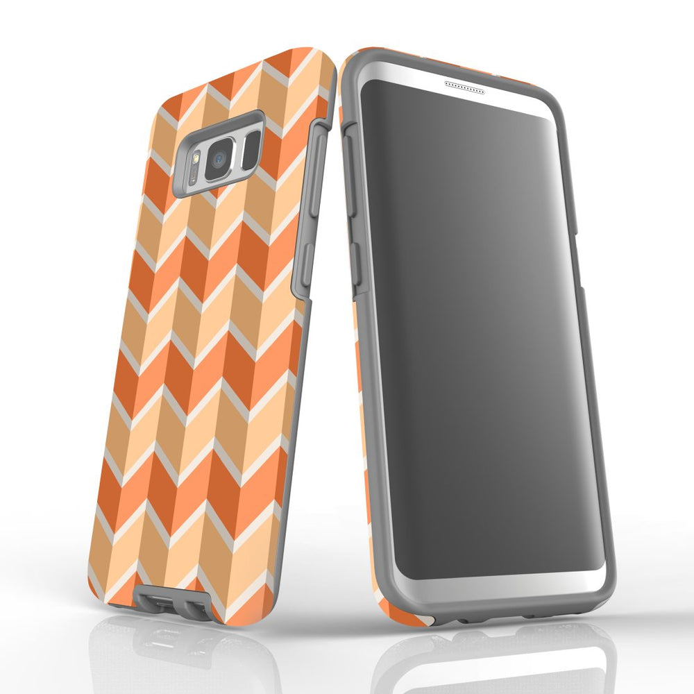 For Samsung Galaxy S8 Protective Case, Zigzag Salmon Pattern