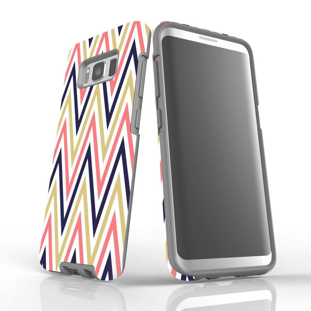 For Samsung Galaxy S8 Protective Case, Zigzag Salmon Purple Pattern
