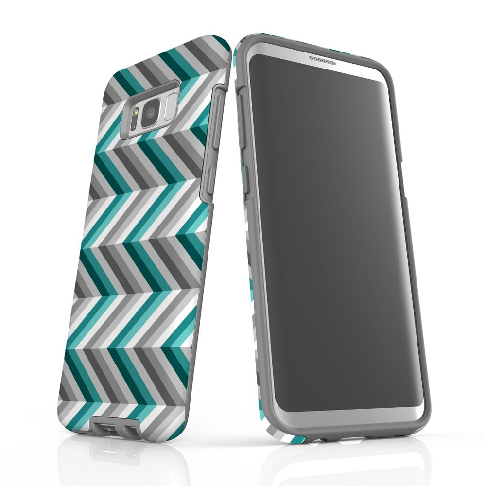 For Samsung Galaxy S8 Plus Protective Case, Zigzag Blue Grey Pattern