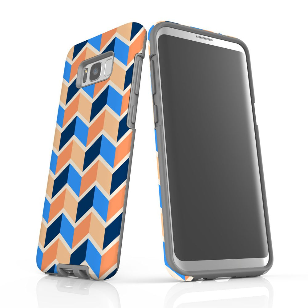 For Samsung Galaxy S8 Plus Protective Case, Zigzag Blue Orange Pattern