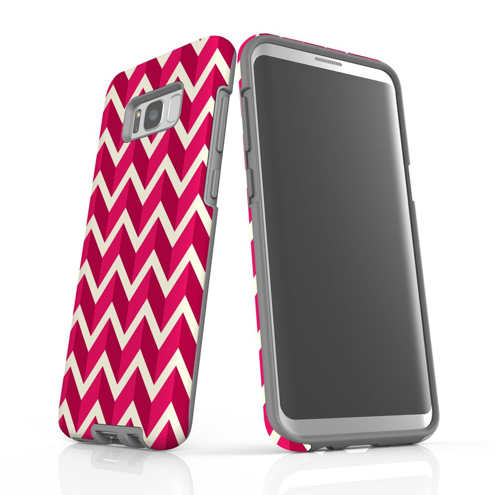 For Samsung Galaxy S8 Plus Protective Case, Zigzag Magenta Pattern