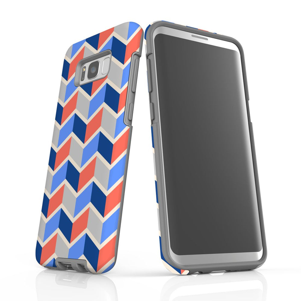 For Samsung Galaxy S8 Plus Protective Case, Zigzag Salmon Blue Pattern