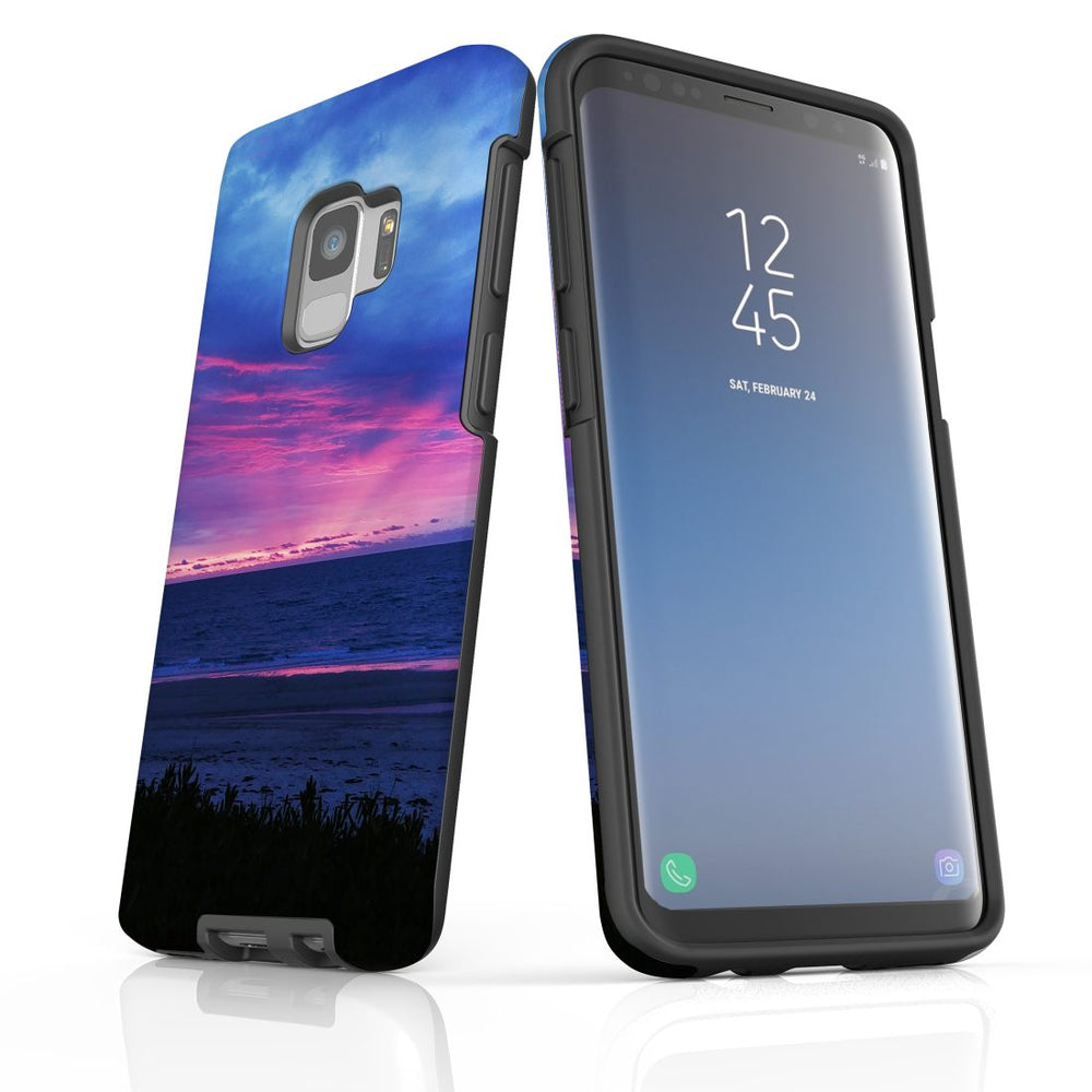 Samsung Galaxy S9 Case Protective Cover, Sunset at the Beach