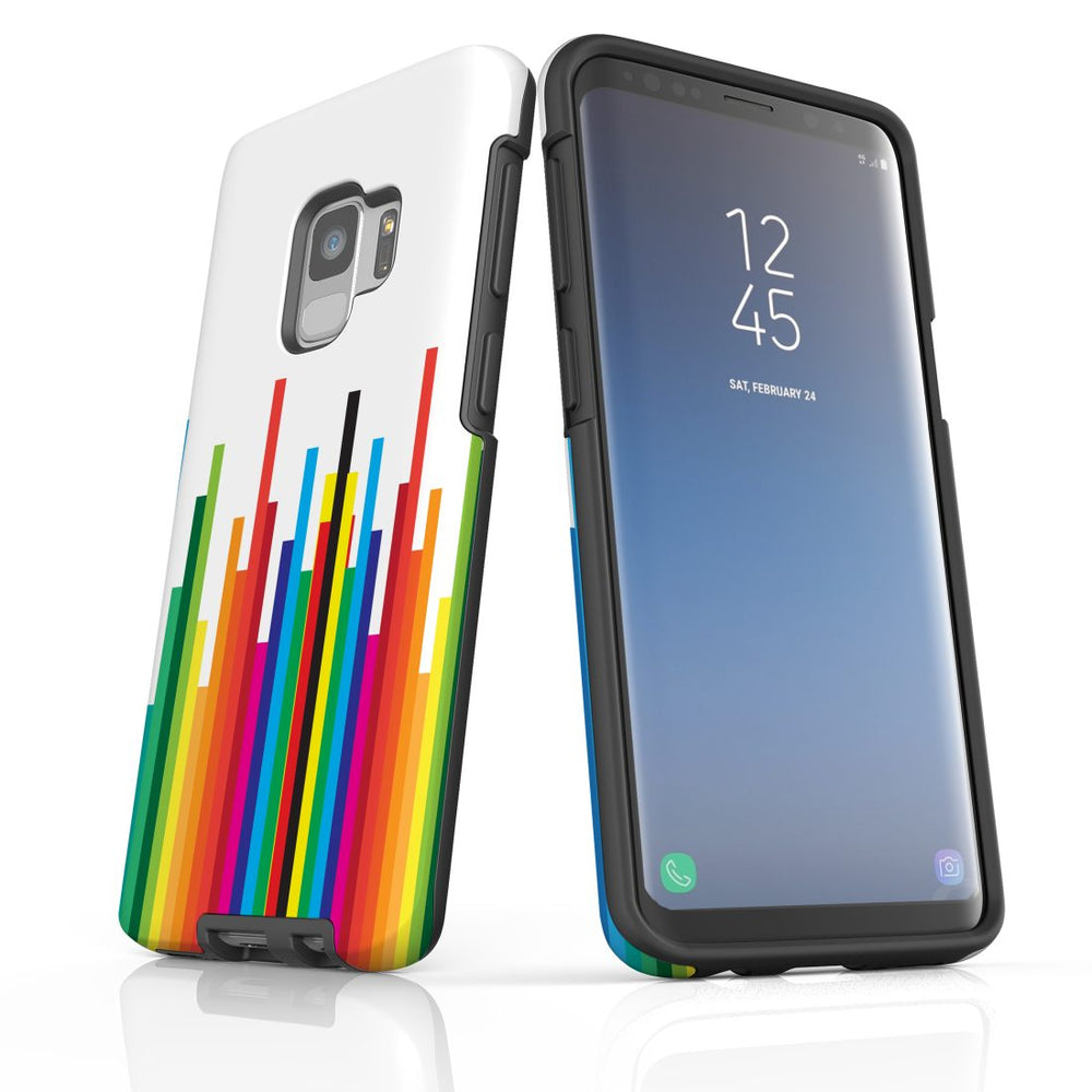 For Samsung Galaxy S9 Protective Case, Rainbow Bar Pattern