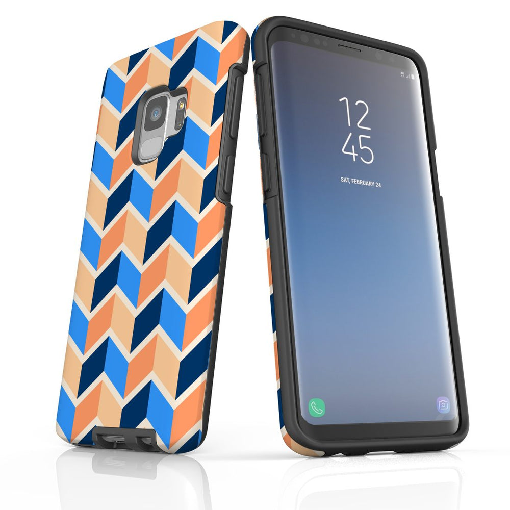 For Samsung Galaxy S9 Protective Case, Zigzag Blue Orange Pattern