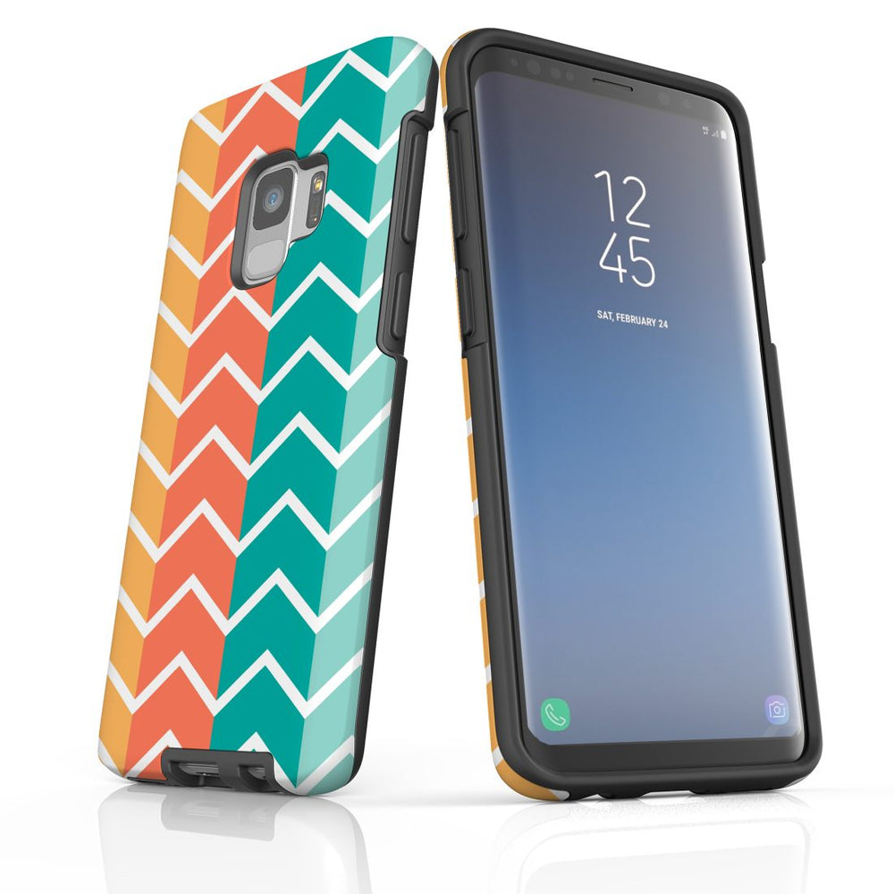 For Samsung Galaxy S9 Protective Case, Zigzag Colorful Pattern