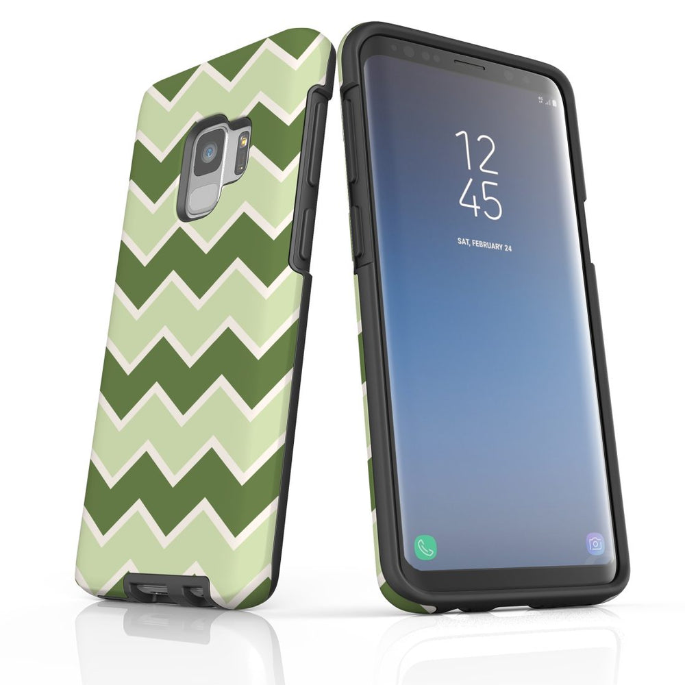 For Samsung Galaxy S9 Protective Case, Zigzag Green Pattern