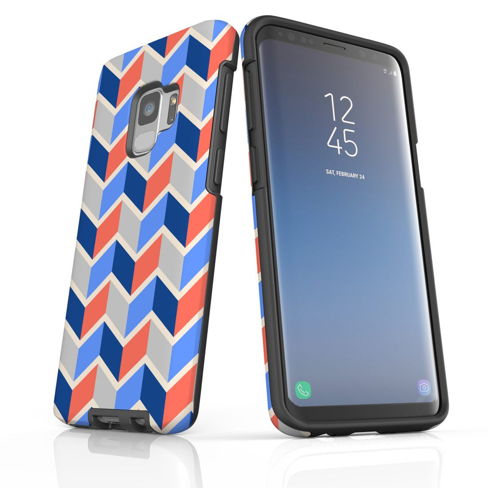 For Samsung Galaxy S9 Protective Case, Zigzag Salmon Blue Pattern