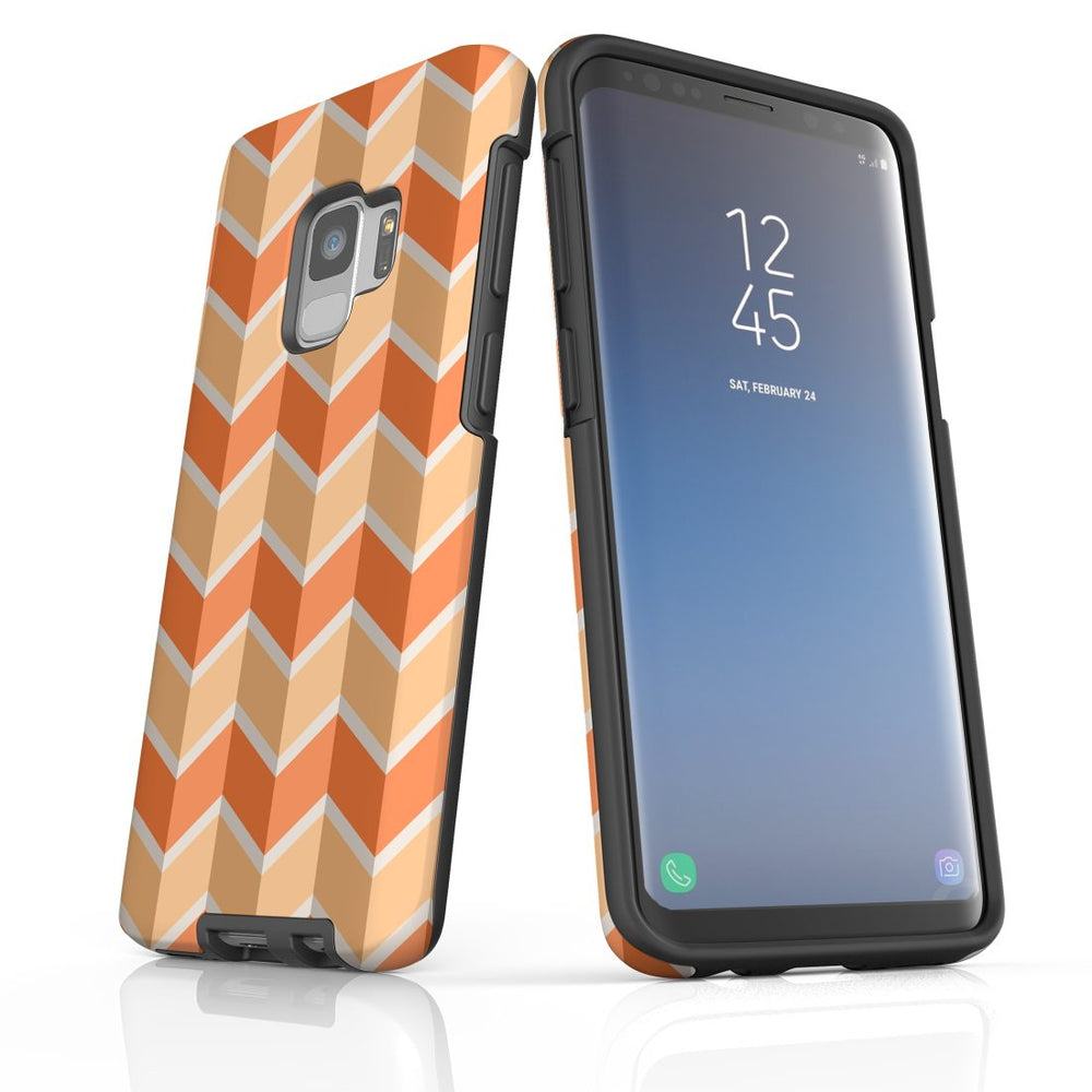 For Samsung Galaxy S9 Protective Case, Zigzag Salmon Pattern