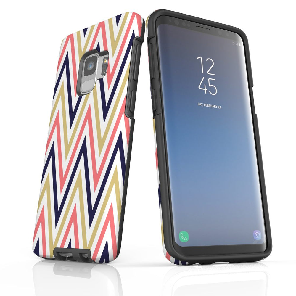 For Samsung Galaxy S9 Protective Case, Zigzag Salmon Purple Pattern