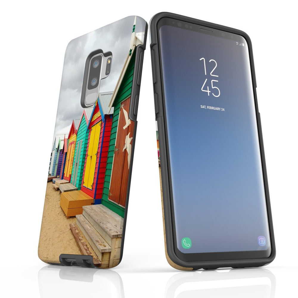 Samsung Galaxy S9+ Plus Case Protective Cover, Brighton Bathing Boxes