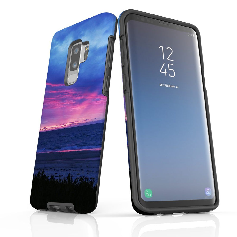 Samsung Galaxy S9+ Plus Case Protective Cover, Sunset at the Beach