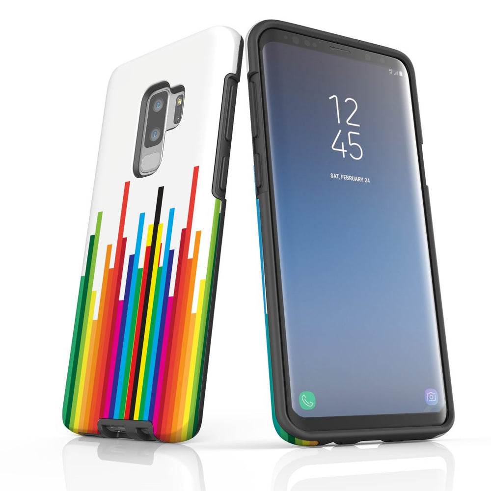 For Samsung Galaxy S9 Plus Protective Case, Rainbow Bar Pattern