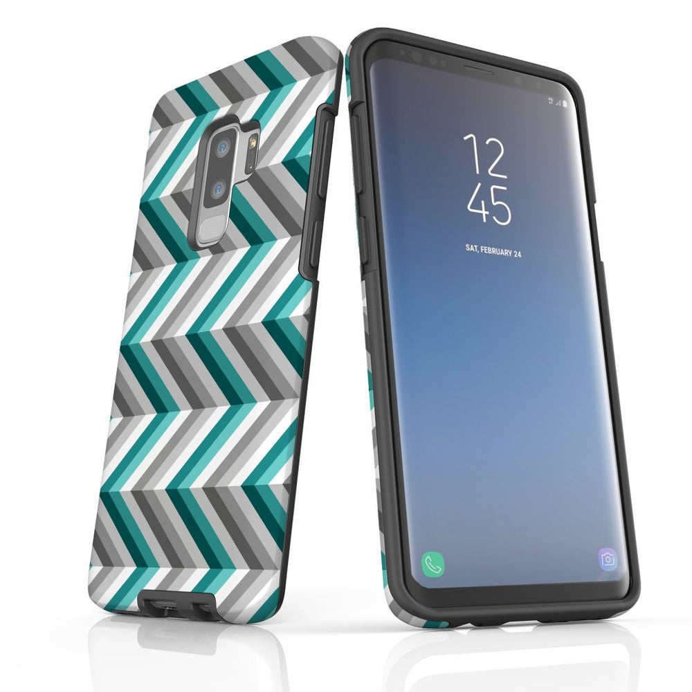 For Samsung Galaxy S9 Plus Protective Case, Zigzag Blue Grey Pattern