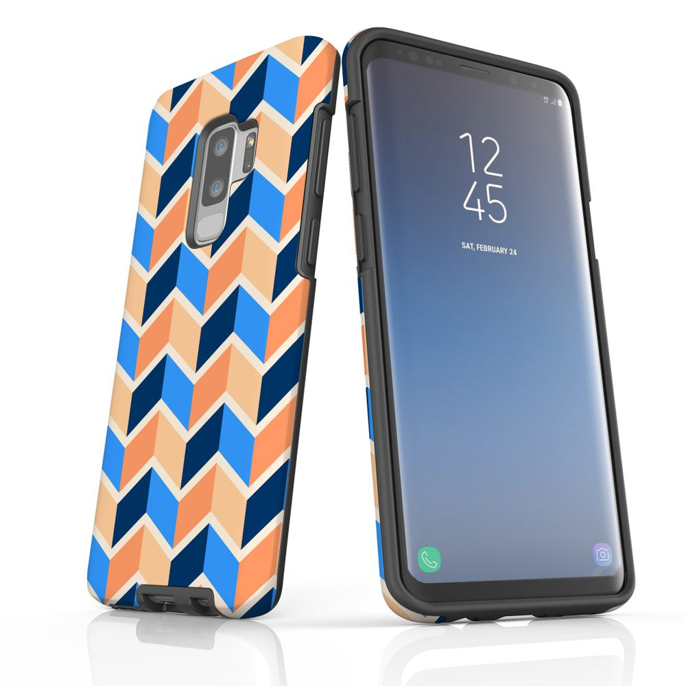 For Samsung Galaxy S9 Plus Protective Case, Zigzag Blue Orange Pattern