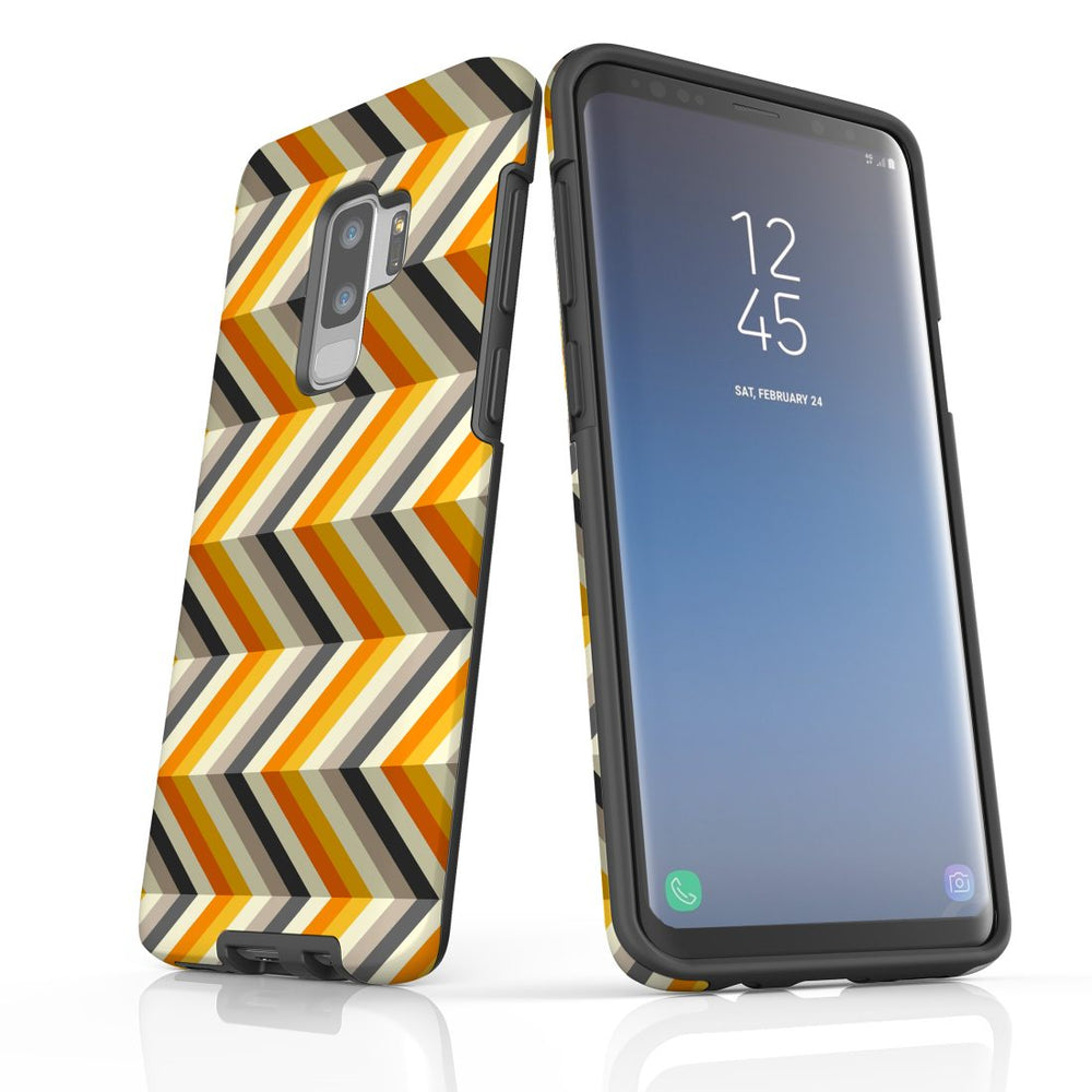 For Samsung Galaxy S9 Plus Protective Case, Zigzag Left Right Yellow Pattern
