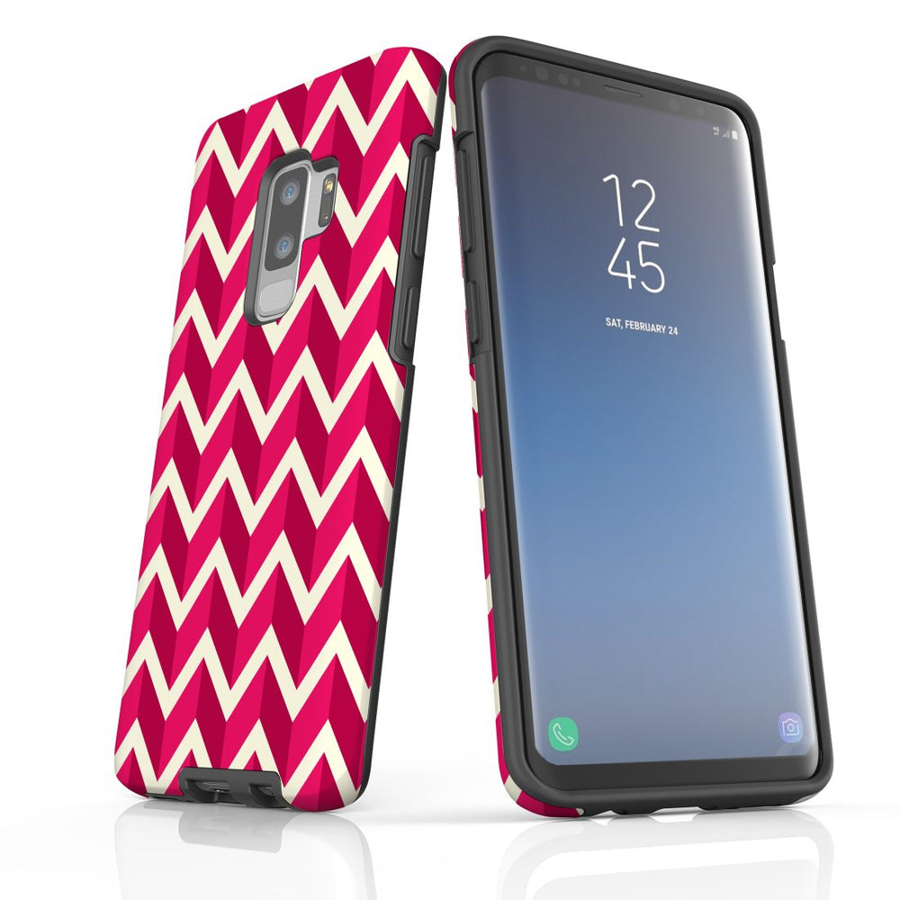 For Samsung Galaxy S9 Plus Protective Case, Zigzag Magenta Pattern
