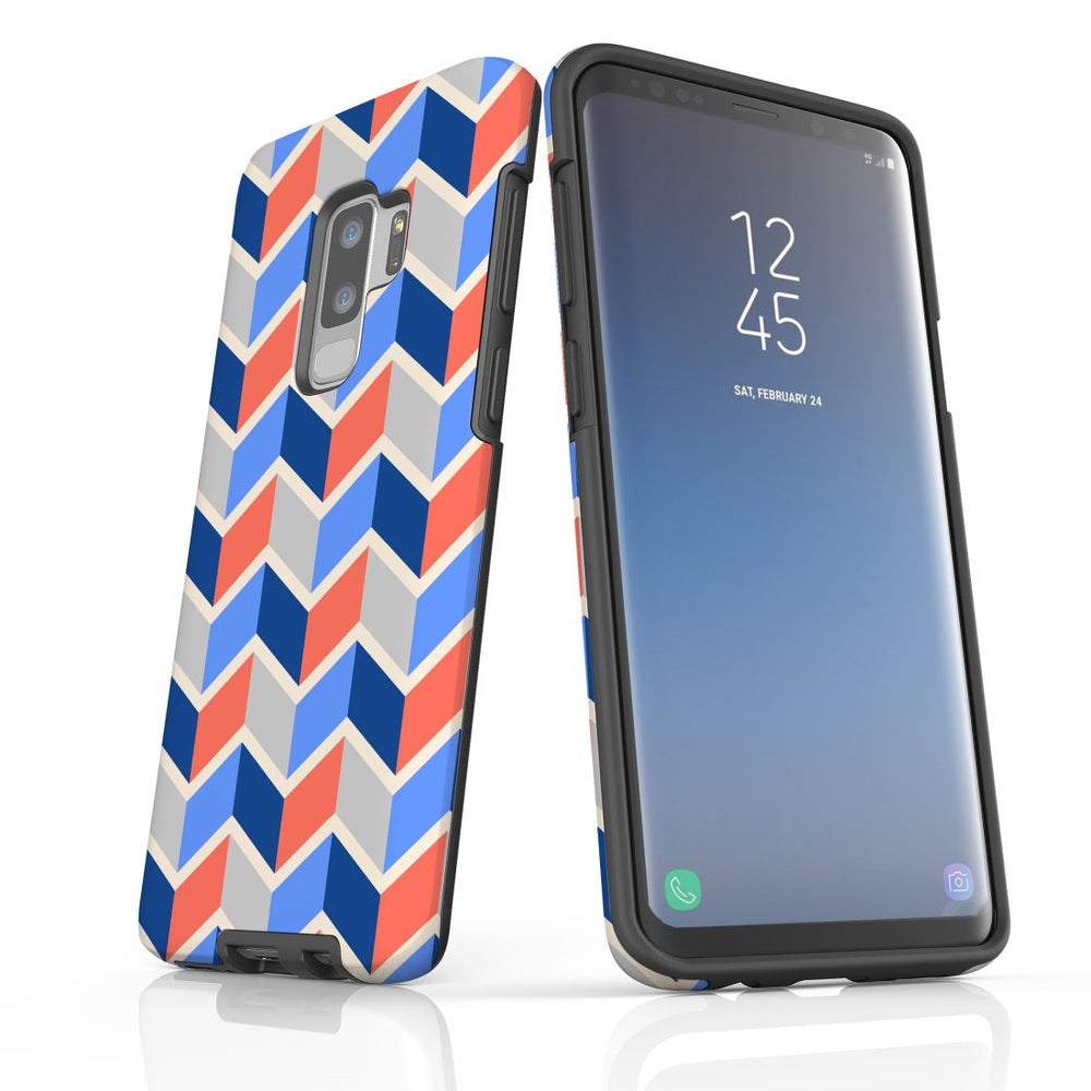 For Samsung Galaxy S9 Plus Protective Case, Zigzag Salmon Blue Pattern