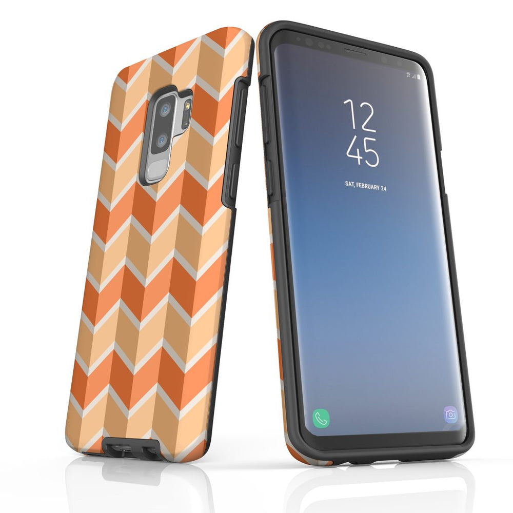 For Samsung Galaxy S9 Plus Protective Case, Zigzag Salmon Pattern