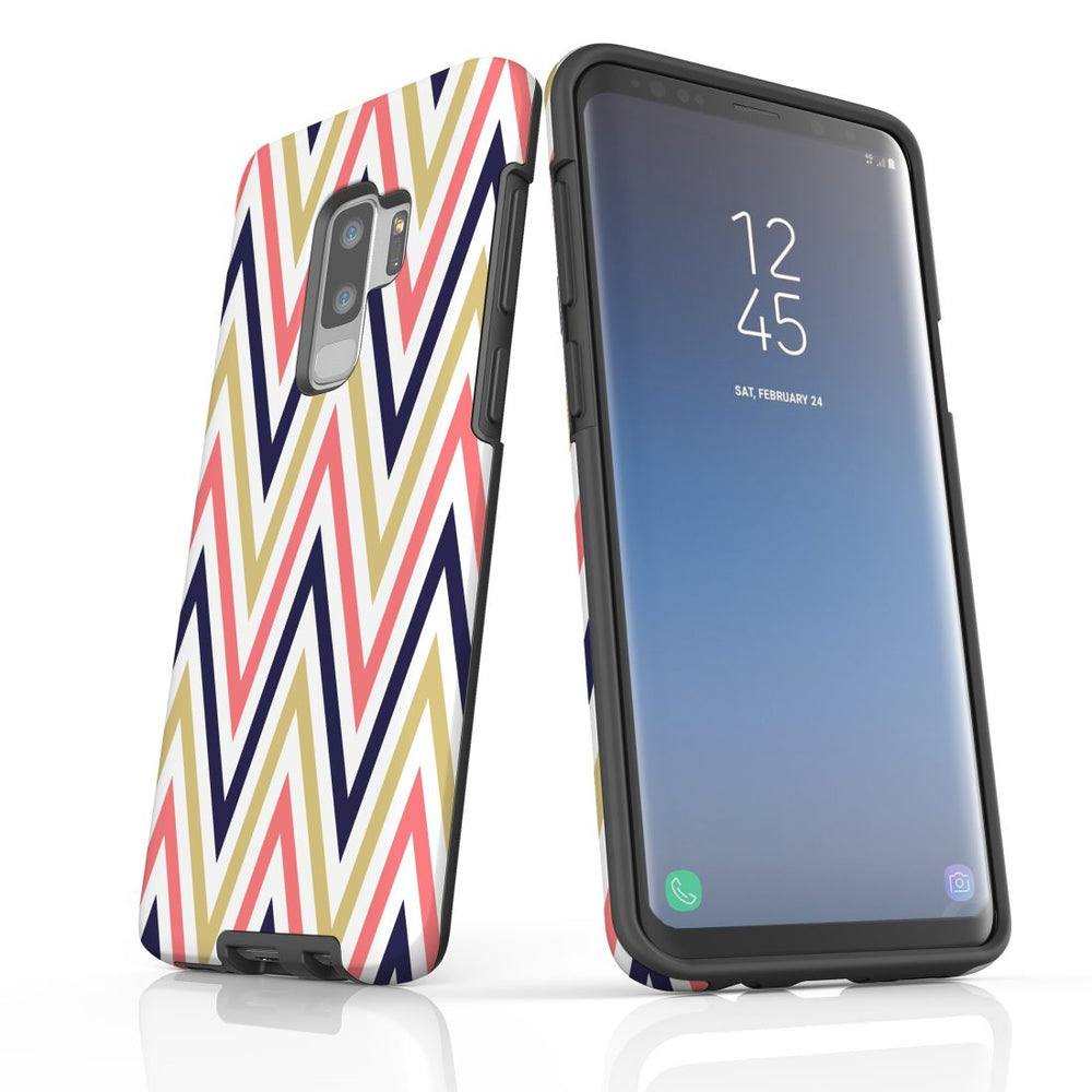 For Samsung Galaxy S9 Plus Protective Case, Zigzag Salmon Purple Pattern