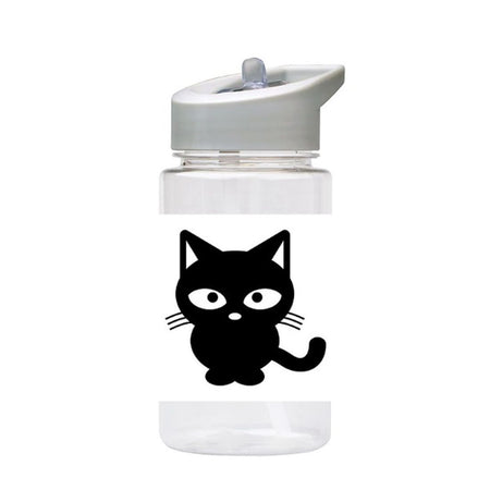 Water Bottle 500ml with Straw and Handle Drink Bottle, Black Cat