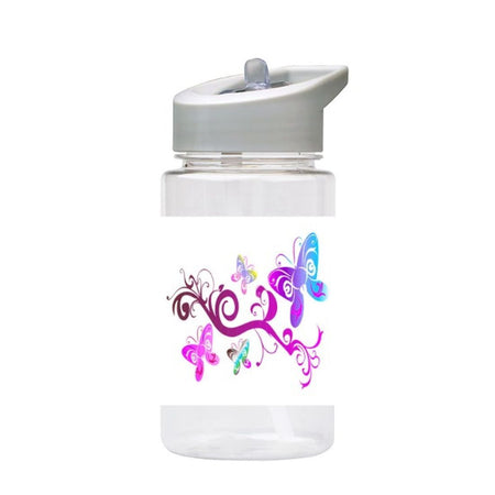 Water Bottle 500ml with Straw and Handle Drink Bottle, Purple Butterflies