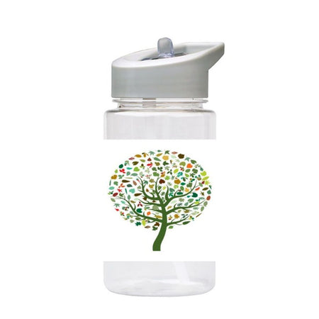Water Bottle 500ml with Straw and Handle Drink Bottle, Colourful Tree