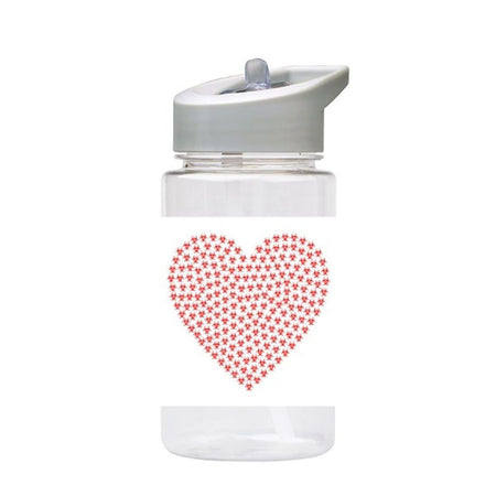 Water Bottle 500ml with Straw and Handle Drink Bottle, Heart