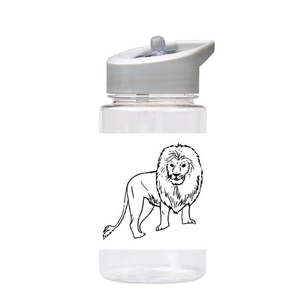 Water Bottle 500ml with Straw and Handle Drink Bottle, Lion