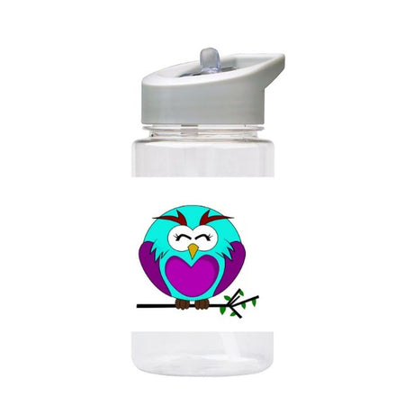 Water Bottle 500ml with Straw and Handle Drink Bottle, Owl
