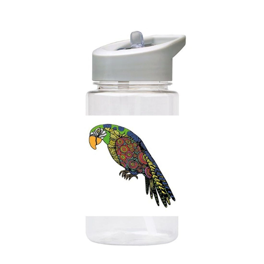 Water Bottle 500ml with Straw and Handle Drink Bottle, Parrot