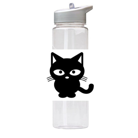 Water Bottle 750ml with Straw and Handle Drink Bottle, Black Cat