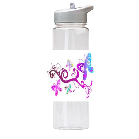 Water Bottle 750ml with Straw and Handle Drink Bottle, Butterflies