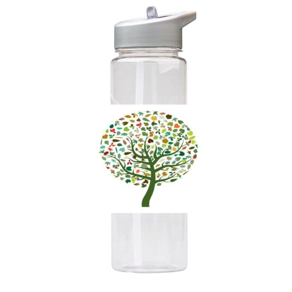Water Bottle 750ml with Straw and Handle Drink Bottle, Colourful Tree