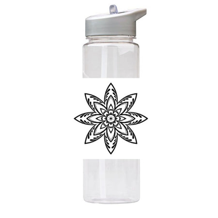 Water Bottle 750ml with Straw and Handle Drink Bottle, Flower