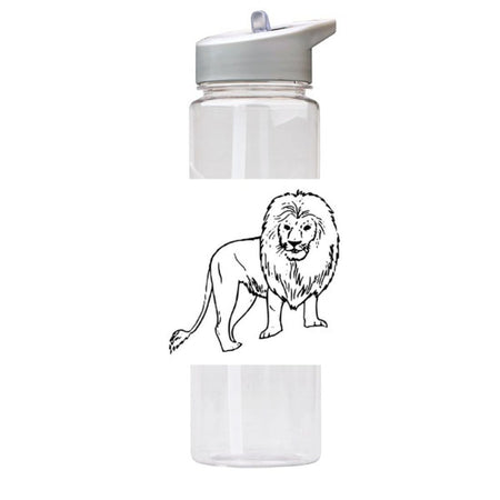 Water Bottle 750ml with Straw and Handle Drink Bottle, Lion