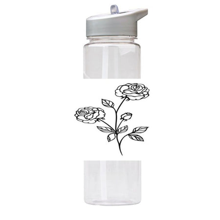 Water Bottle 750ml with Straw and Handle Drink Bottle, Roses