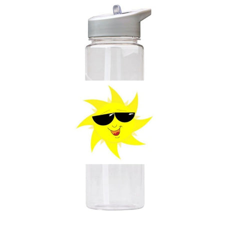 Water Bottle 750ml with Straw and Handle Drink Bottle, Smiling Sun