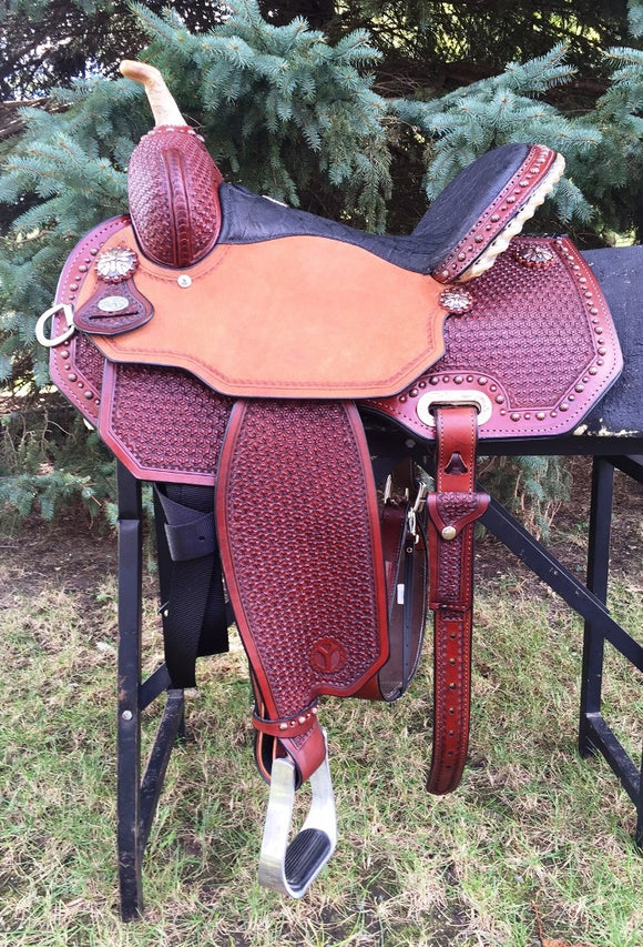 14.5 inch Circle Y Lisa Lockhart Ambition Flex2 Barrel Saddle