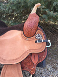 14.5 Inch Kelly Kaminski Studded Croc Barrel Saddle 1539