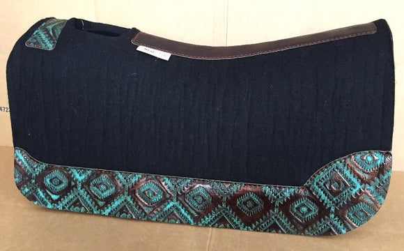 5 Star Saddle Pad black 7/8 inch custom full turquoise copper aztec wear leathers