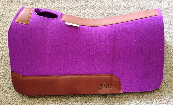 5 Star Saddle Pad purple 7/8 inch oro russet wear leathers