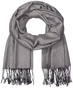 Back On Track Scarf Shawl Dark Grey Black Fringe