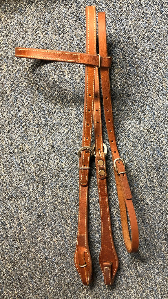 Harness Leather Browband Headstall with Quick Change Ends. Stainless hardware.