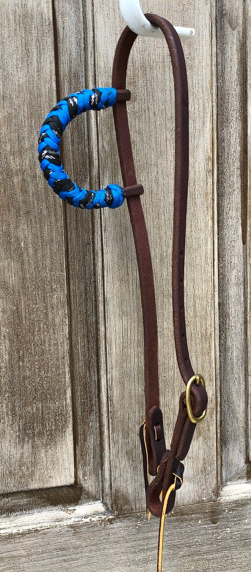 Beagley Premium Leather Blue and Black Metallic Single Ear Headstall