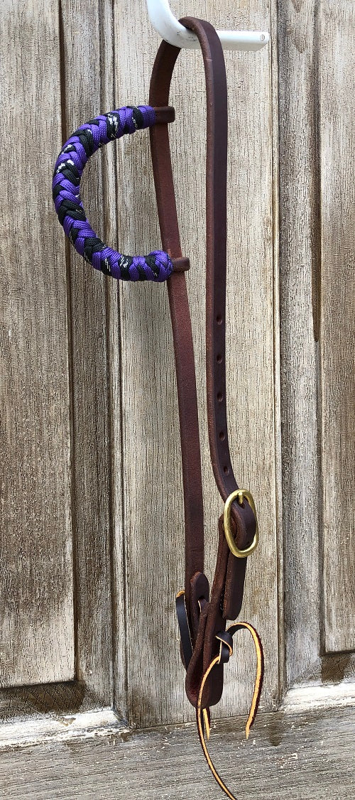 Beagley Premium Leather Purple and Black Metallic Single Ear Headstall