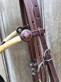 Quick Change Futurity Browband Headstall with Red Star Conchos, Rawhide and Horsehair tassels