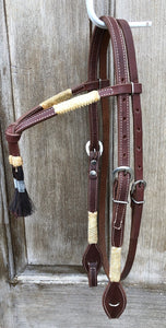 Quick Change Futurity Browband Headstall with Rawhide and Horsehair accents