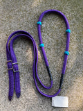 Round Braid Lifter Rein Purple with Turquoise Knots