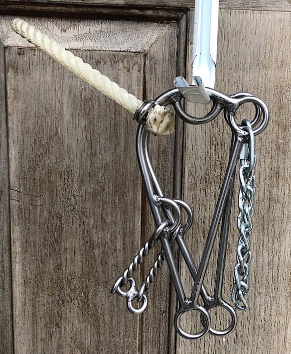 L&W Hackamore Combination 165-13 Twisted Dr Bristol 8 inch shank